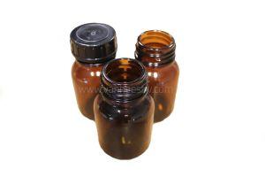 Poederfles, 50ml, DIN32, glas, amber, 85st