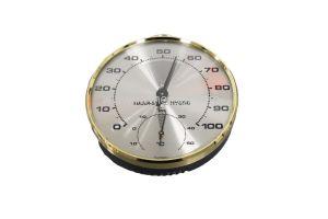 Thermo/Hygrometer, analoog, rond huis met messing en ring