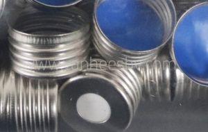Cap, alu, ND18 schroef, 8mm gat, silicone wit/ptfe blauw, 100st