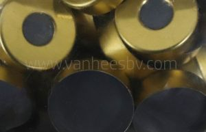 Cap, magnetisch, goud, ND20 krimp, Moulded Butyl/PTFE, 100st